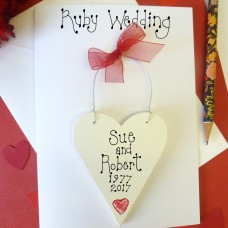 Personalised Ruby Wedding Card