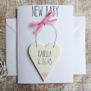 NEW BABY GIRLS PERSONALISED CARD