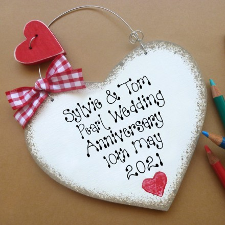 Personalised Pearl Anniversary Sign