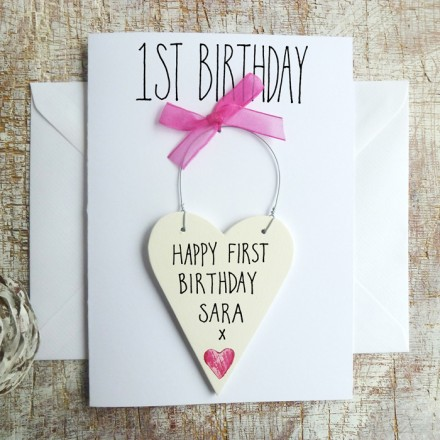 BABY GIRL'S 1ST BIRTHDAY CARD