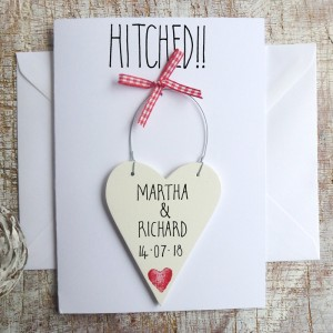 Personalised Hitched! Wedding Day Card
