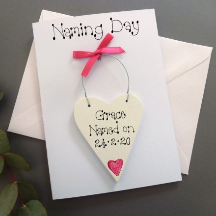 Personalised Girl's Naming Day Card
