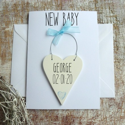 NEW BABY BOY PERSONALISED CARD