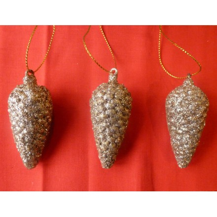Christmas Golden Cone Set of 3