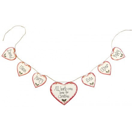 Personalised Garland 7 Hearts