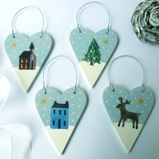 Scenic Hearts Set of 4 Christmas Tree Decorations