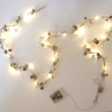 White Star and Bead Garland LED Lights