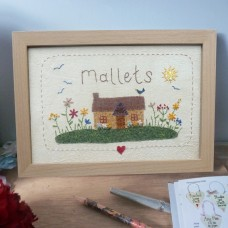 Personalised Embroidered Country Bunglow Picture
