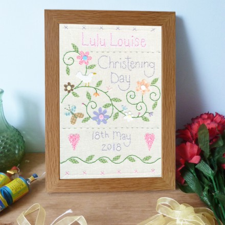 Girls Personalised Christening Sampler