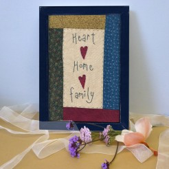 Heart Home Family Embroidered Picture