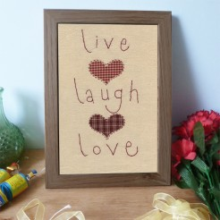 Live Laugh Love Embroidered Picture