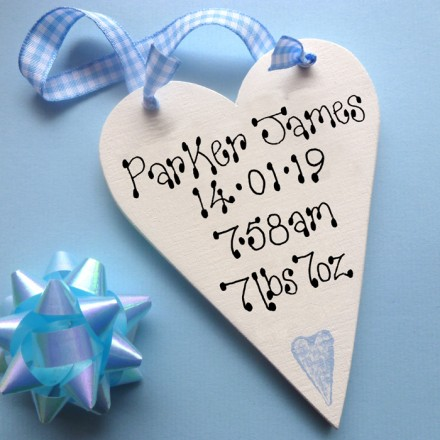 Personalised Baby's Message Heart