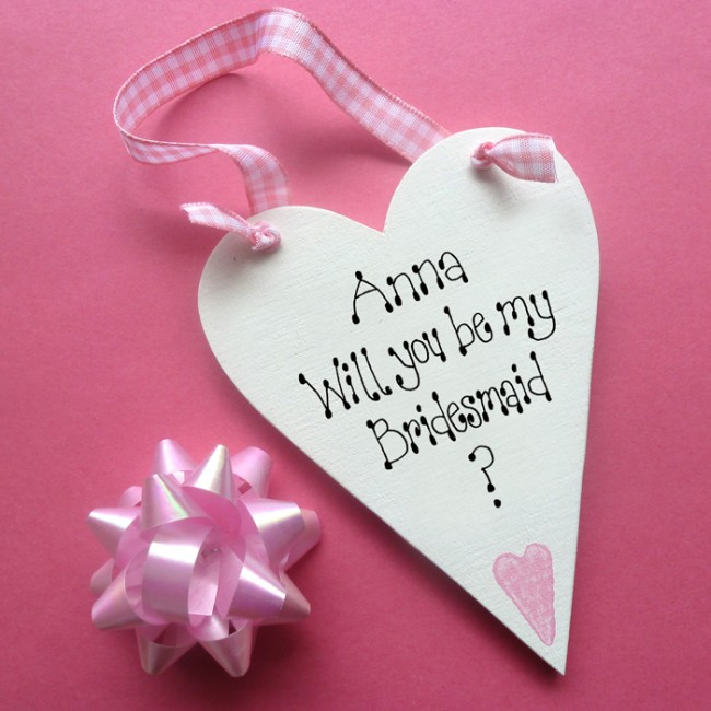 Will You Be My Bridesmaid Message Heart