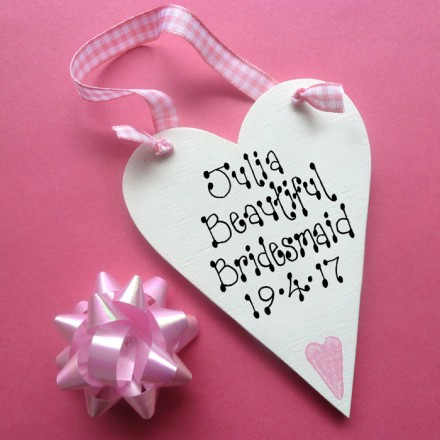Bridesmaid Personalised Message Heart