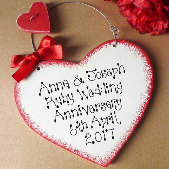Ruby Wedding Gifts For Her: Personalised Ruby Anniversary Sign