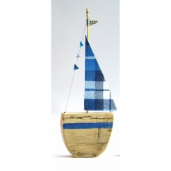 Blue Check Sailboat