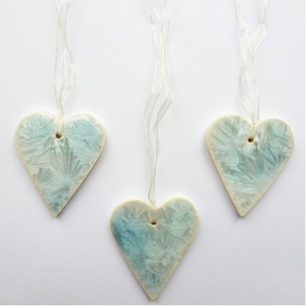 Ice Blue Porcelain Hearts