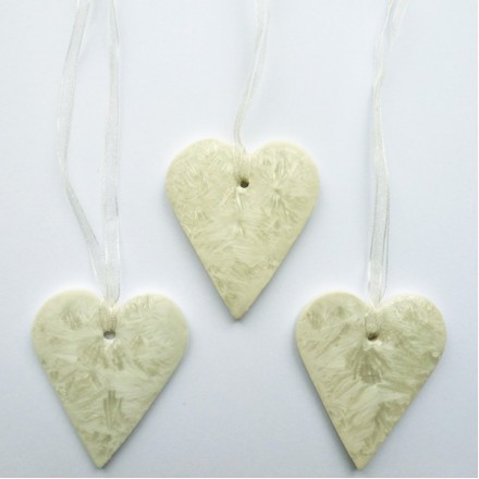 Ice White Porcelain Hearts