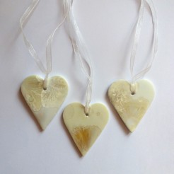 Yellow Porcelain Hearts